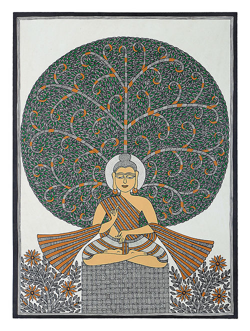 Tree of Life and Lord Buddha Madhubani Painting
