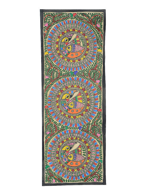 Peacock Madhubani Painting (30in x 11in)