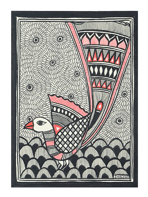 Peacock Madhubani Painting (7.5in x 5.5in)