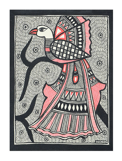 Peacock Madhubani Painting (7.3in x 5.5in)