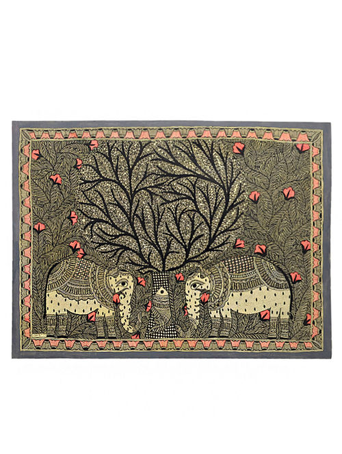 Tree of Life with Elephant Madhubani Painting (22in x 30in)