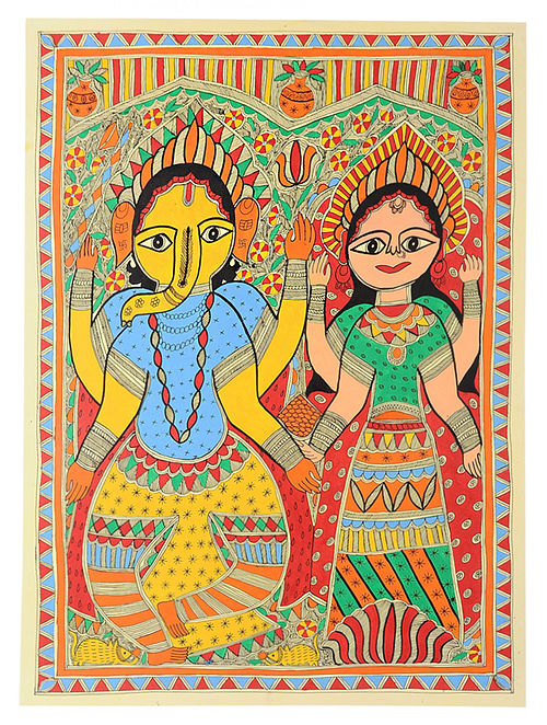Laxmi and Ganesh Madhubani Painting (30in x 22in)