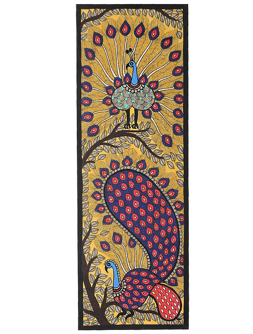 Peacock Madhubani Painting (22in x 7.5in)