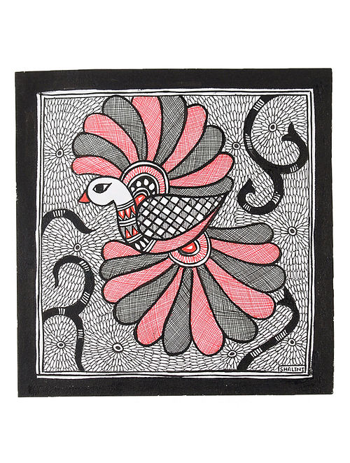 Bird Madhubani Painting (7.2in x 7.5in)
