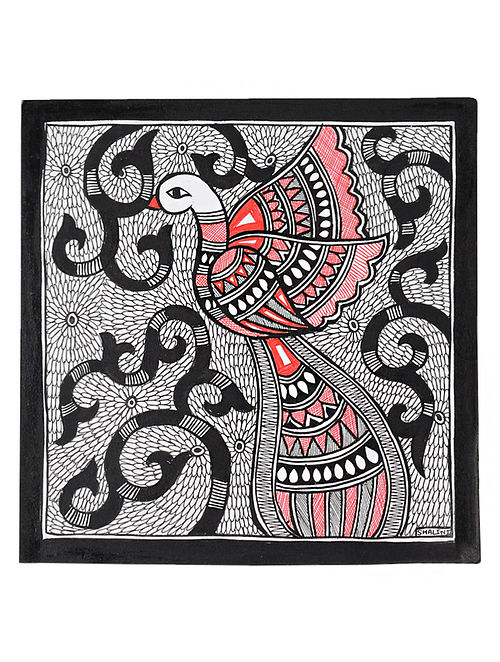 Peacock Madhubani Painting (7.2in x 7.5in)