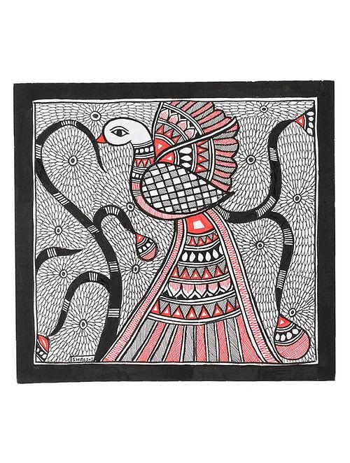 Bird Madhubani Painting (7.2in x 7.5in)
