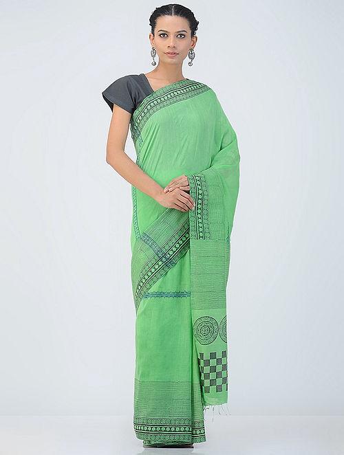 9b58a6c30b7a3 Buy Green-Black Block-printed Khadi Silk Saree Online at Jaypore.com