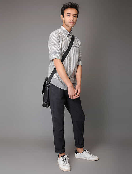 Grey Handloom Cotton Shirt