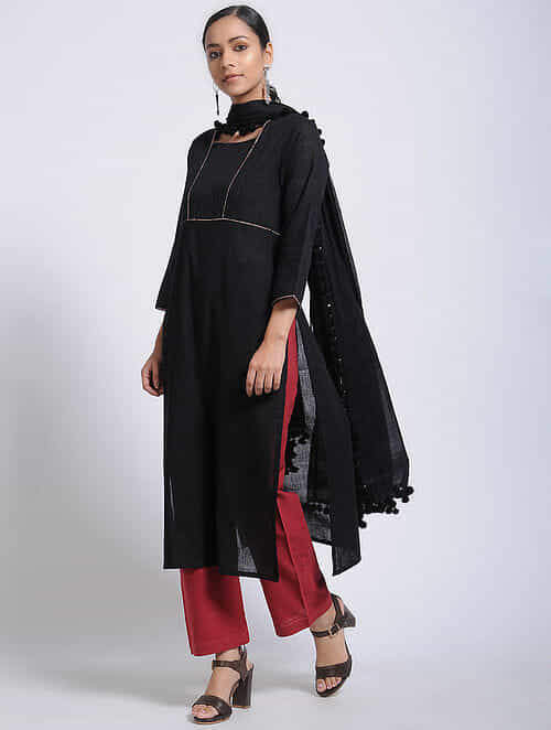 Black Cotton Kurta with Pintucks