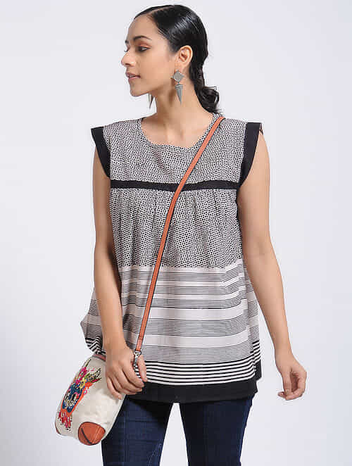 Black-Ivory Bagh-Printed Cotton Top