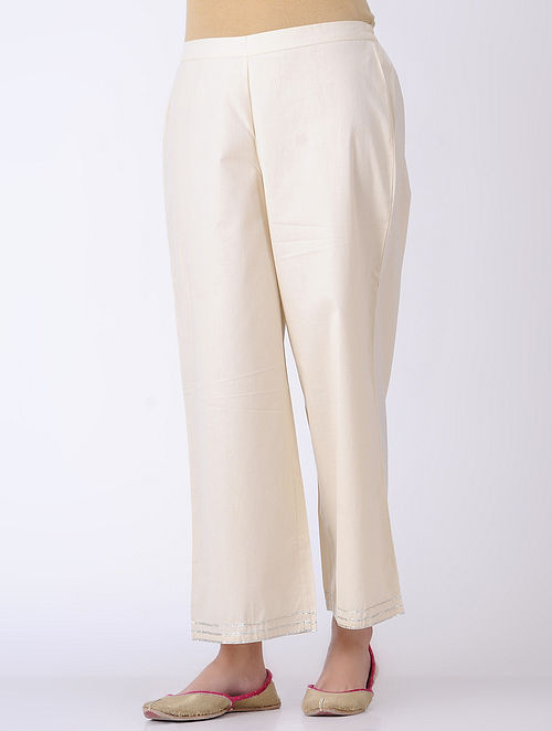 Ivory Embroidered Elasticated-waist Poplin Pants with Silver Gota Work