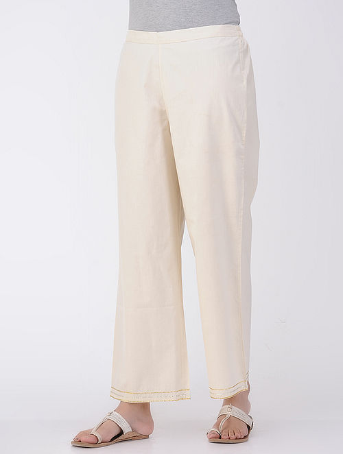 Ivory Elasticated Waist Poplin Pants