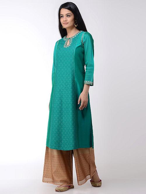 Turquoise Embroidered Cotton-silk Kurta