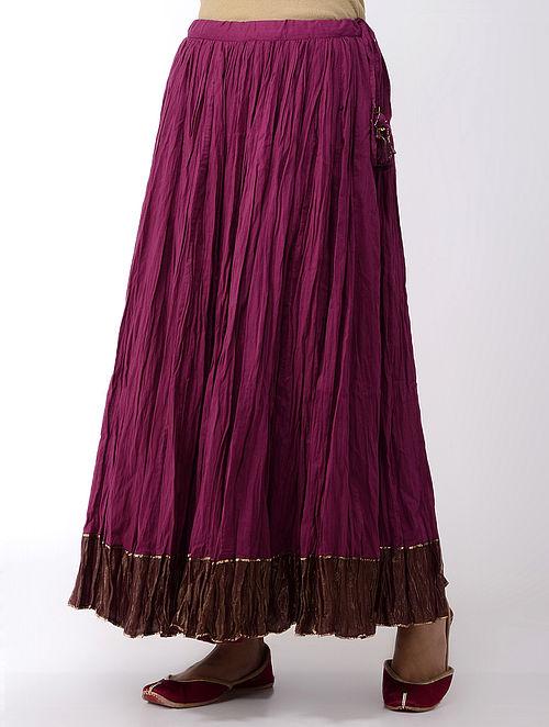 Pink Crinkled Tie-up Waist Cotton-silk Skirt
