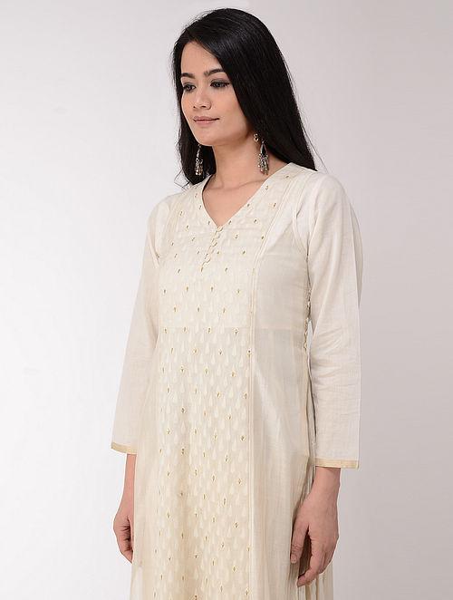 Ivory Hand-embroidered Cotton-Silk Kurta with Slip (Set of 2)
