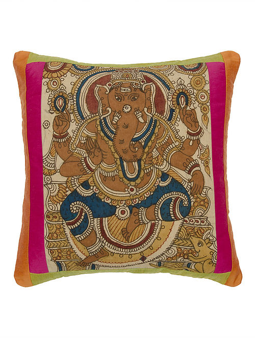 Multi-Color Cotton-Viscose Kalamkari Ganesha Cushion Cover by Anek Designs 17.5in x 17.5in