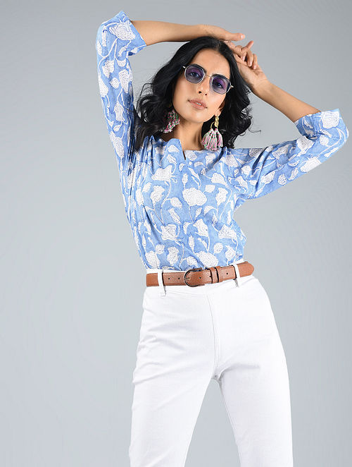 3f4e65b0bccd6 Buy White-Blue Printed Cotton Top Online at Jaypore.com