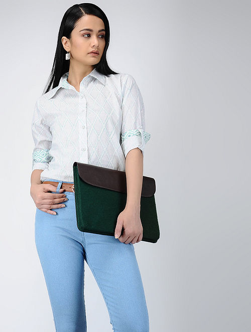 Green-Ivory Printed Cotton Long Shirt