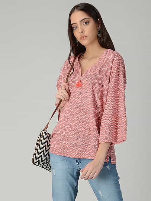 Peach-Ivory Printed Cotton Top with Tassel