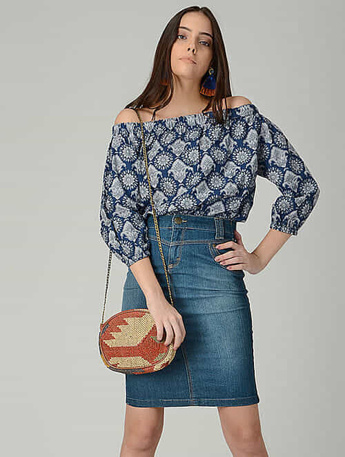 Blue-Grey Printed Cotton Off-shoulder Top