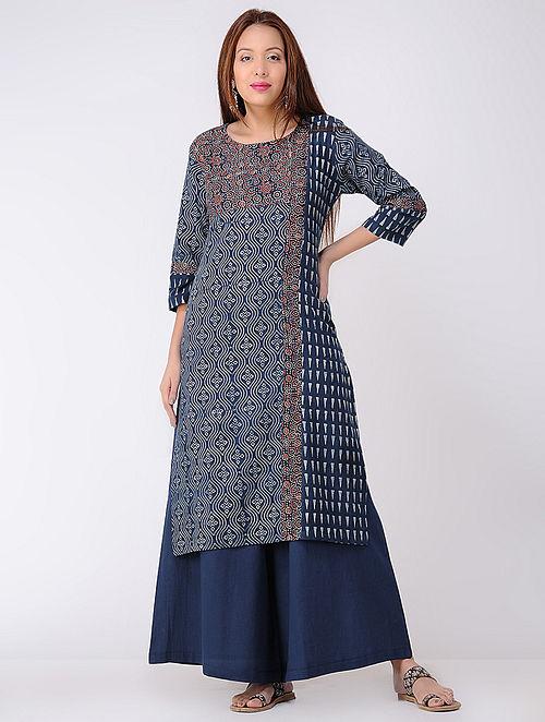 Indigo-Ivory Ajrakh-printed Cotton Kurta