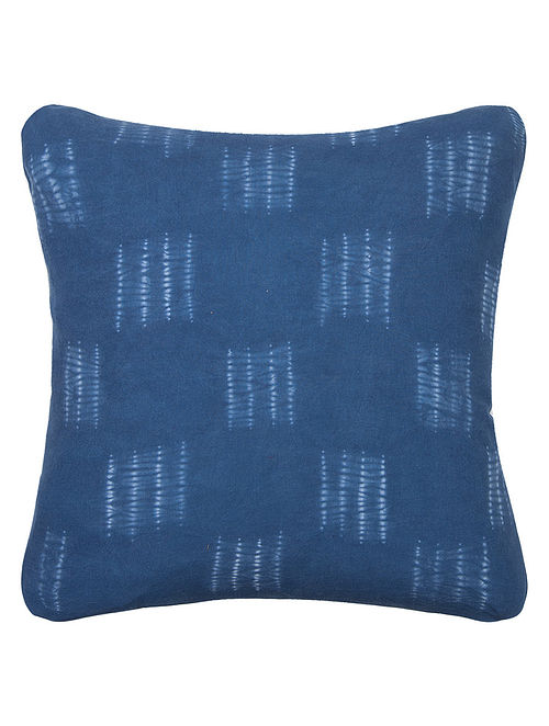 Natural Dyed Indigo-White Shibori Cotton Cushion Cover - 16in x 16in