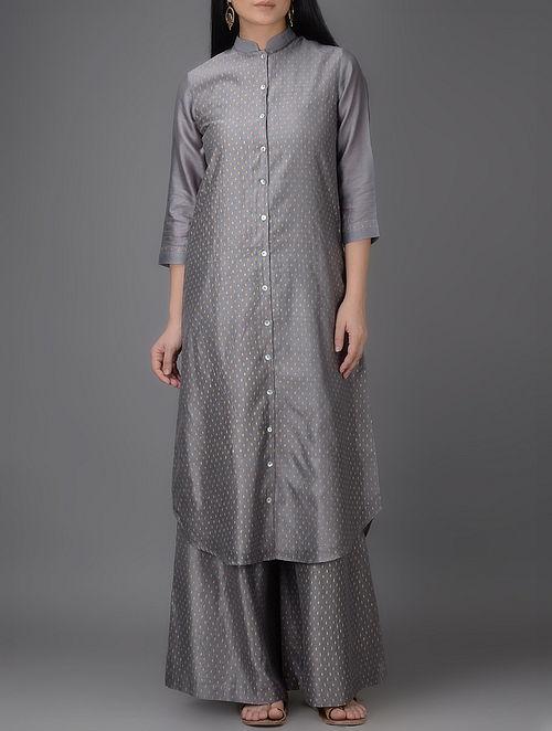 Grey Khari-printed Mandarin Collar Chanderi Kurta