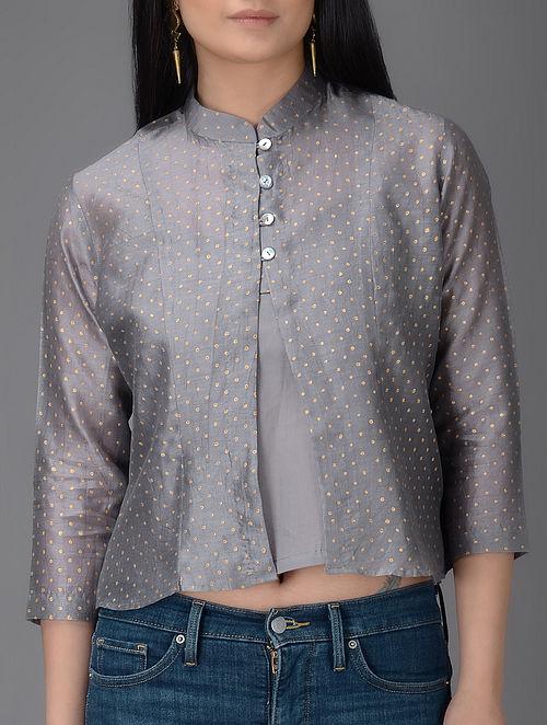 Grey Khari-printed Mandarin Collar Chanderi Jacket with Cotton Slip (Set of 2)