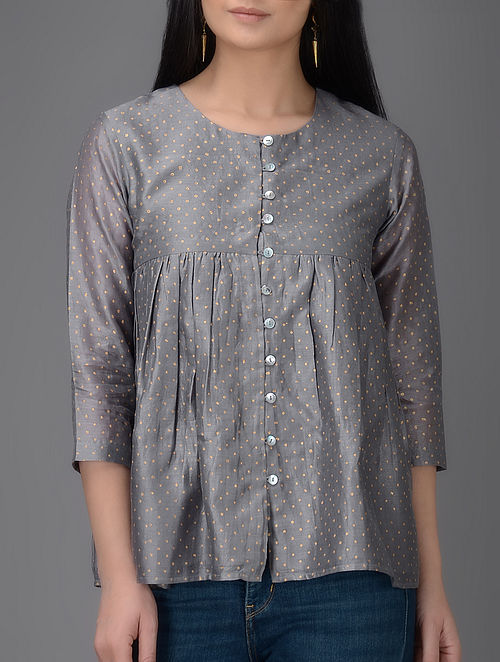Grey Khari-printed Chanderi Top with Gathers