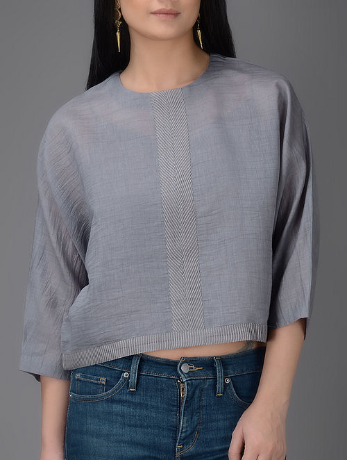 Grey Chanderi Top with Cotton Slip (Set of 2)