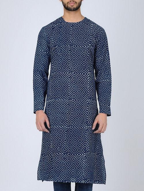Blue Full Sleeve Dabu-Printed Cotton Kurta