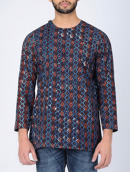 Blue Full Sleeve Bagru-Printed Cotton Kurta