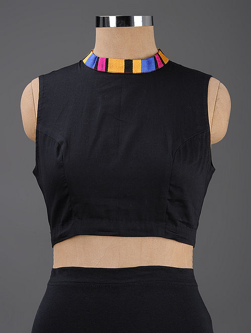 Black Cotton Blouse with Mashru Collar