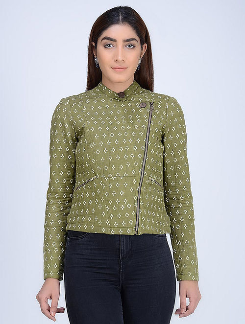 Green Quilted Dabu-Printed Angrakha Cotton Jacket