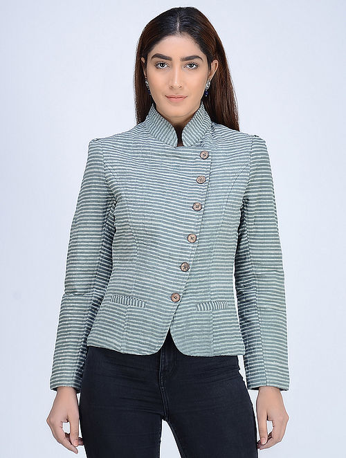Grey Quilted Dabu-Printed Angrakha Cotton Jacket