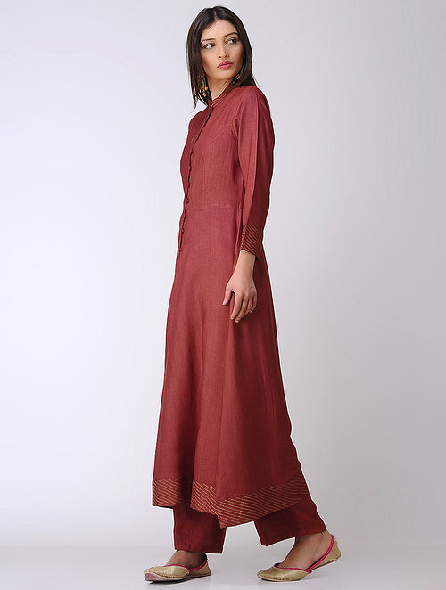 Maroon Cotton Tussar Kurta with Block-printed Hem