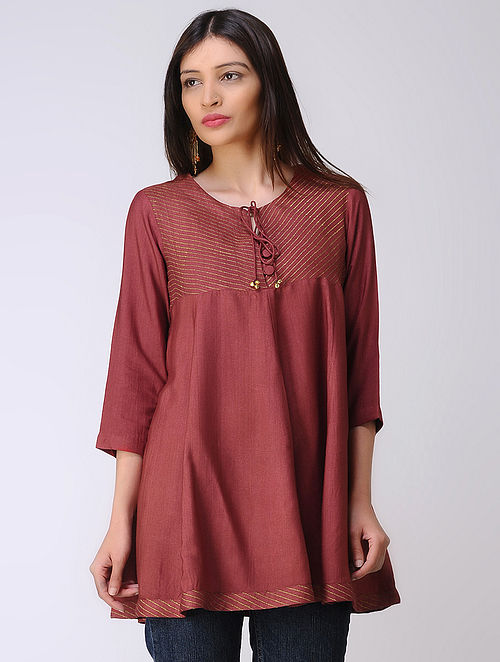 Maroon Cotton Tussar Top with Block-printed Hem