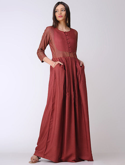 Maroon Cotton Tussar Maxi Dress with Block-printed Sleeves