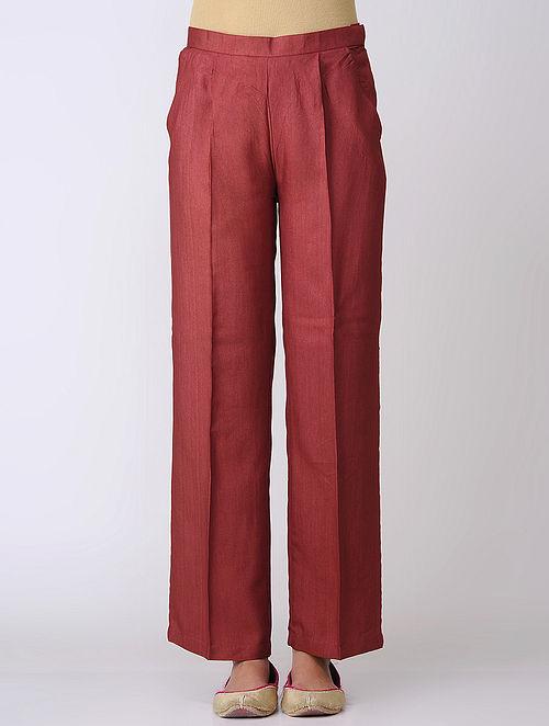 Maroon Cotton Tussar Pants