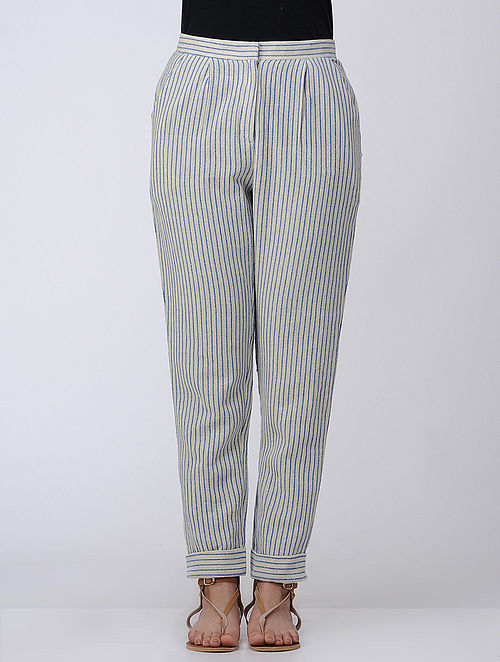 Ivory-Blue Pleated Handwoven Cotton Pants