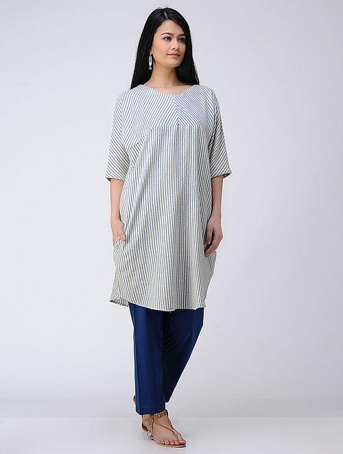 Ivory-Blue Handwoven Cotton Tunic