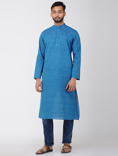 Blue Full Sleeve Cotton Long Kurta with Front Pocket