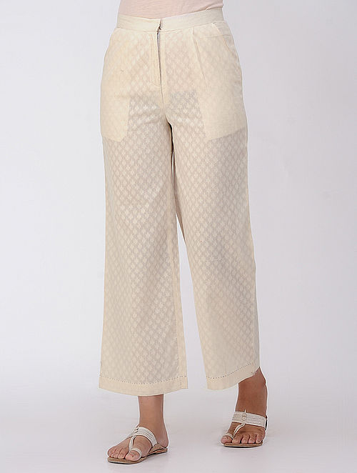 Ivory Pleated Cotton Dobby Pants with Pocket