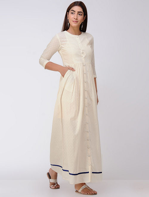 Ivory Gathered Cotton Dobby Front Open Dress