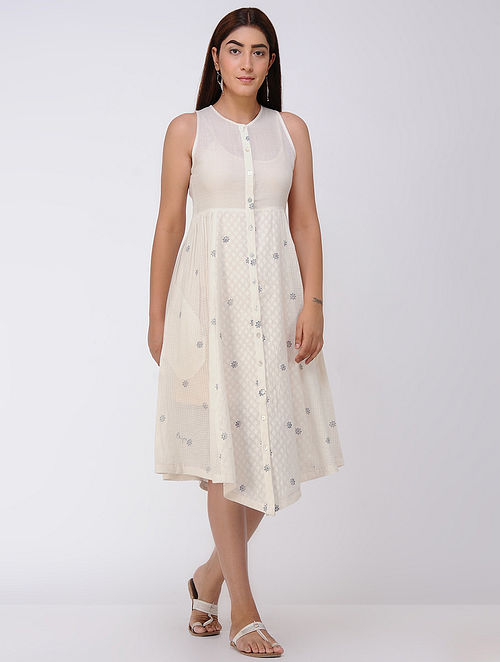 Ivory Cotton Dobby Front Open Dress