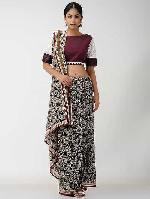 Maroon-Ivory Natural-dyed Block-printed Cotton Blouse