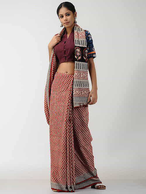 Maroon-Blue Natural-dyed Block-printed Cotton Blouse