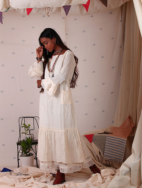 e3e54d28fe67 Buy Ecru Block-printed Muslin Maxi Dress Online at Jaypore.com