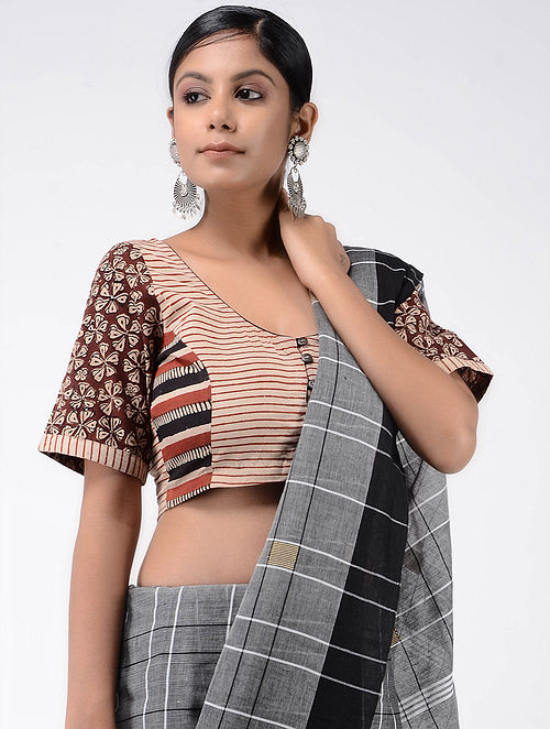88a44c9c4dc81 Buy Ivory-Maroon Block-printed Cotton Blouse Online at Jaypore.com