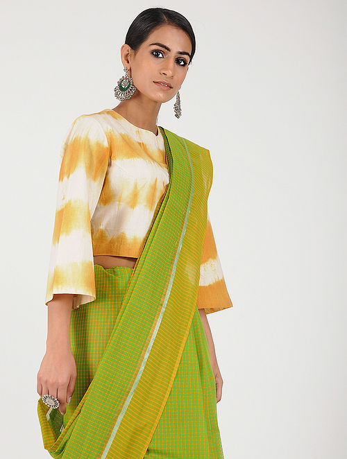 6b54b44663 Buy Ivory-Yellow Tie-dye Cotton Blouse Online at Jaypore.com